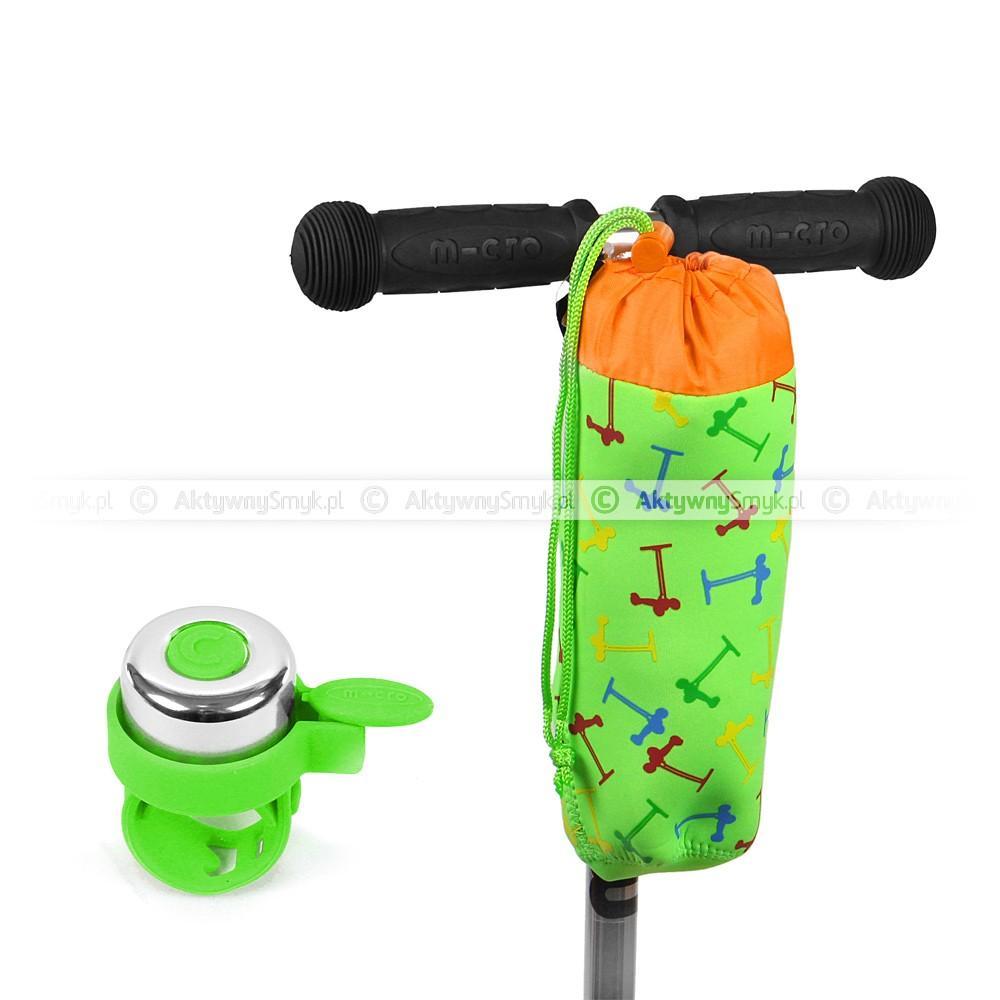 Pokrowiec Micro Green Scooters i zielony dzwonek Micro