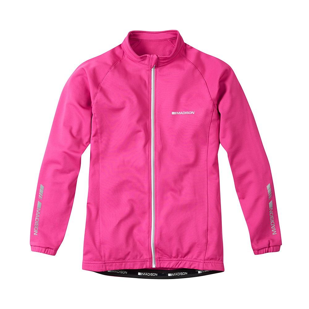 Zapinana na suwak mała kieszonka na plecach - różowa bluza rowerowa Madison Tracker kids
