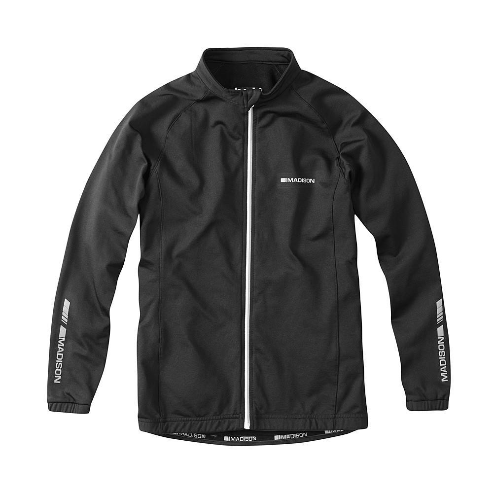 Odblaskowy element na plecach - czarna bluza rowerowa Madison Tracker kids black