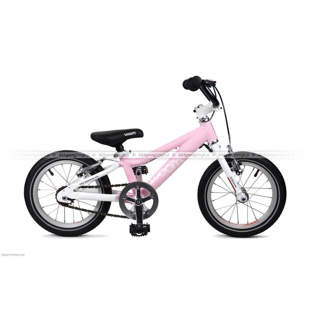 Różowy, lekki rowerek Woom 2 na kołach 14 cali