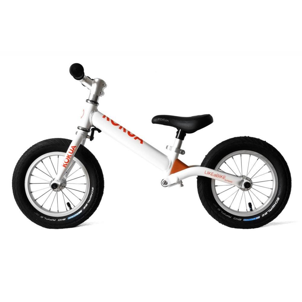Biały amortyzowany rowerek biegowy LIKEaBIKE Jumper dla 2 latka (wzrost ponad 90 cm)