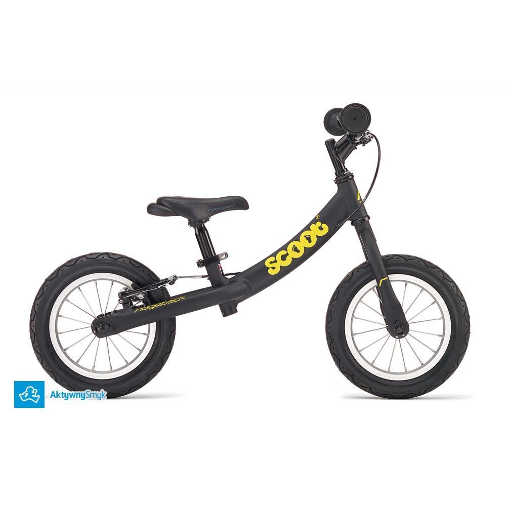 Czarny rowerek biegowy Ridgeback Scoot dla ponad 2 latka, wzrost 90+
