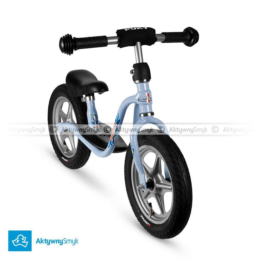 Niebieski rowerek biegowy Puky LR 1L dla ponad dwulatka, wzrost ponad 90 cm