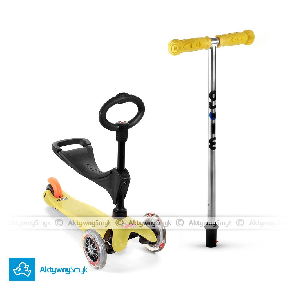Hulajnoga z krótkim drążkiem - żółty jeździk Mini Micro Baby Seat dla roczniaka