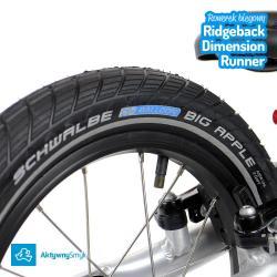 Opony Schwalbe Big Apple z odblaskowymi paskami po bokach - duży rowerek biegowy Ridgeback Dimension Runner