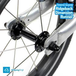 Aluminiowe piasty kół wyposażone w maszynowe łożyska - duży rowerek biegowy Ridgeback Dimension Runner