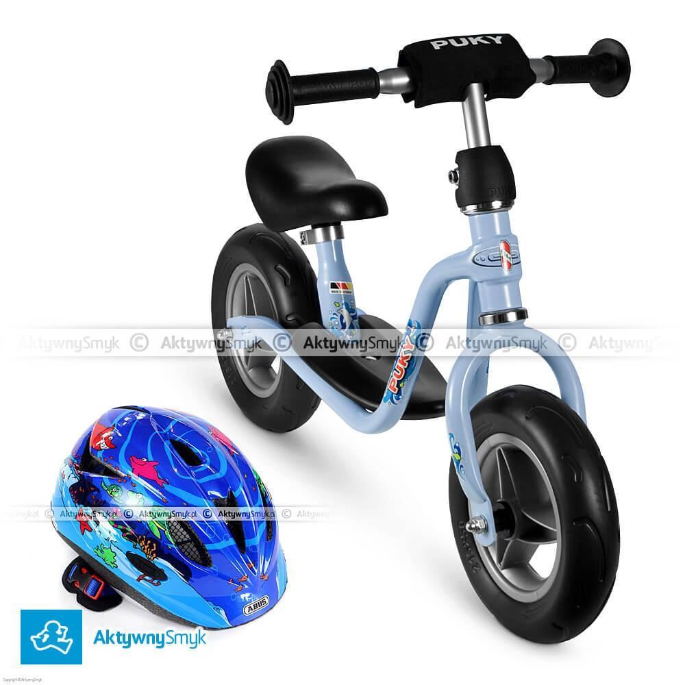 W zestawie taniej! Niebieski rowerek biegowy Puky LR M + kask Abus Rookie