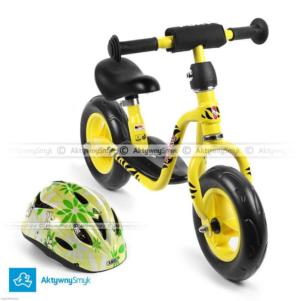Żółty rowerek biegowy Puky LR M + kask Abus Rookie