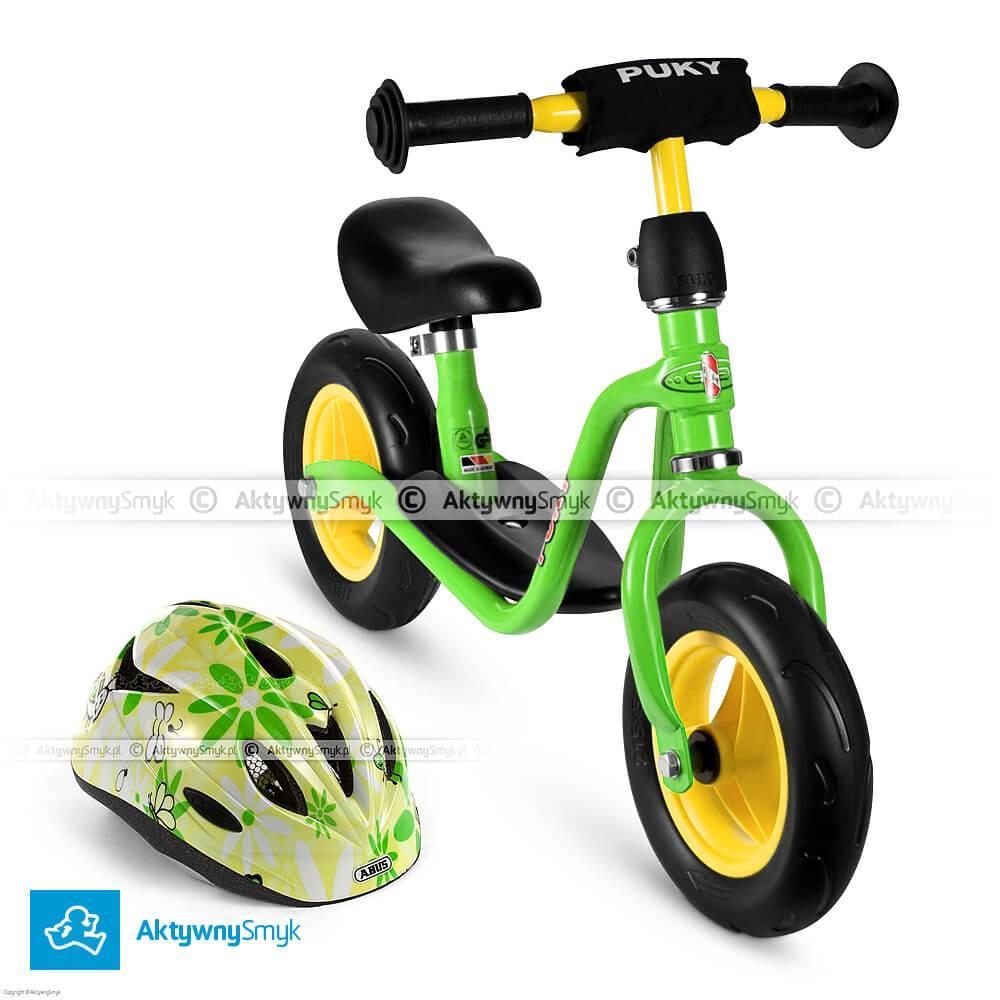 Zielony rowerek biegowy Puky LR M + kask Abus Rookie