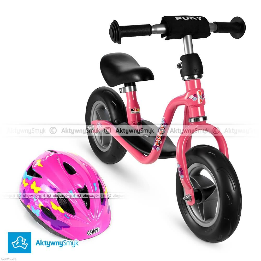 Różowy rowerek biegowy Puky LR M + kask Abus Rookie