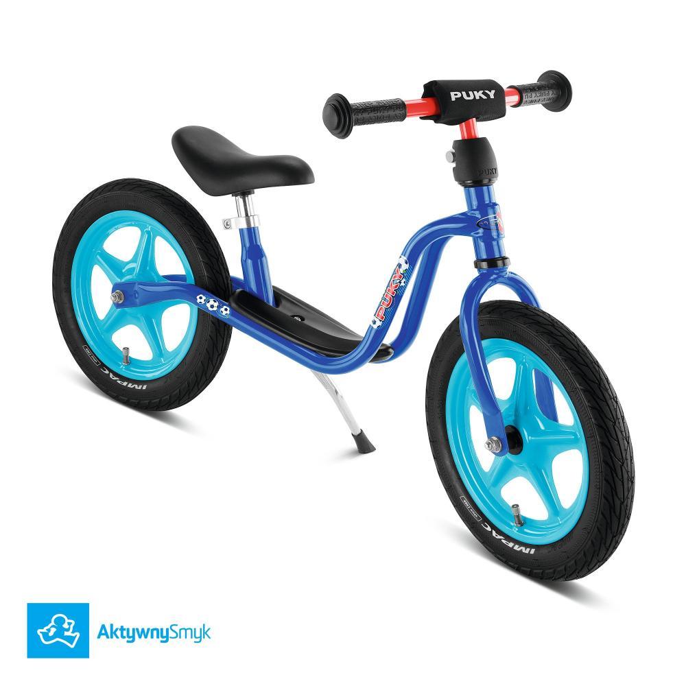 Niebieski rowerek biegowy Puky LR 1L dla ponad dwulatka (wzrost ponad 90 cm)