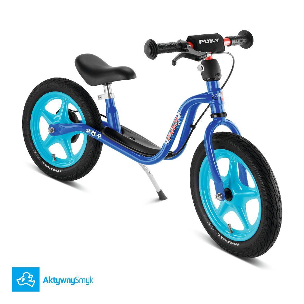 Niebieski rowerek biegowy Puky LR 1L Br z hamulcem dla dwulatka (wzrost ponad 90 cm)