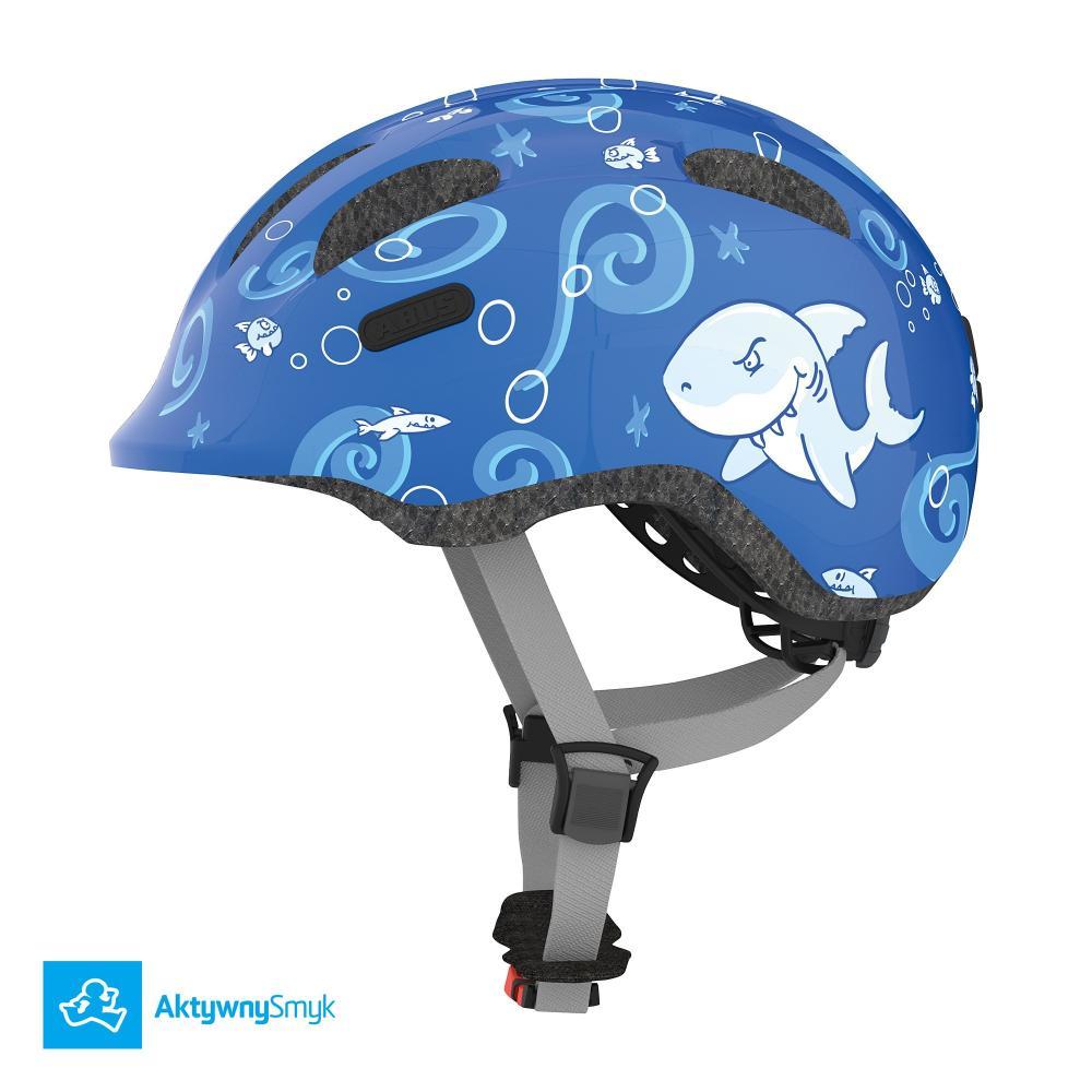 Kask Abus Smiley 2 Blue Sharky dla dziecka, dwa rozmiary, lekki - Warszawa Sklep AktywnySmyk