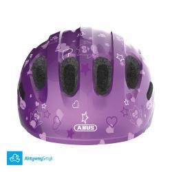 Kask Abus Smiley 2 Purple Star dla dziecka, dwa rozmiary, lekki - Warszawa Sklep AktywnySmyk