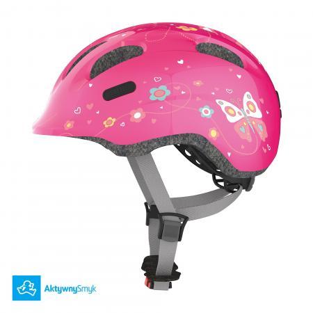 Kask Abus Smiley 2 Pink Butterfly dla dziecka, dwa rozmiary, lekki - Warszawa Sklep AktywnySmyk
