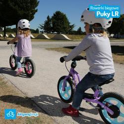 Fioletowy rowerek biegowy Puky LR 1L Br z hamulcem dla dwulatki (wzrost ponad 90 cm)