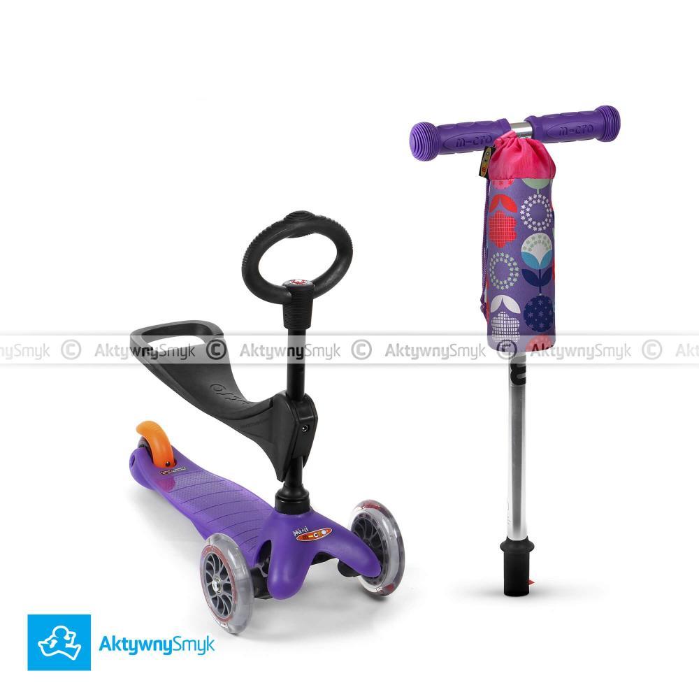 Fioletowy jeździk Mini Micro 3in1 plus gratis pokrowiec Micro na bidon