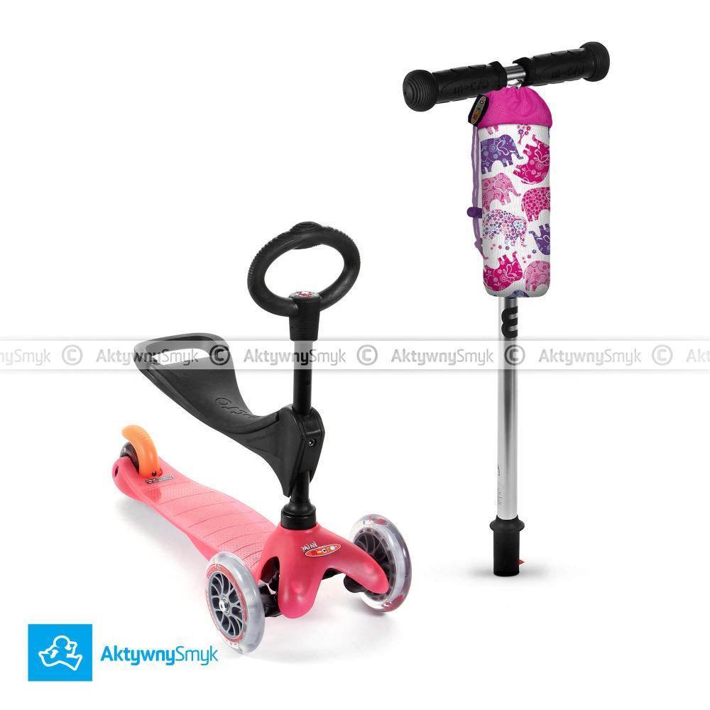 Różowy jeździk Mini Micro 3in1 plus gratis pokrowiec Micro na bidon