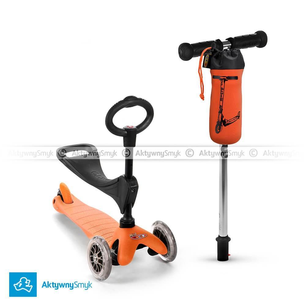 Pomarańczowy jeździk Mini Micro 3in1 plus gratis pokrowiec Micro na bidon